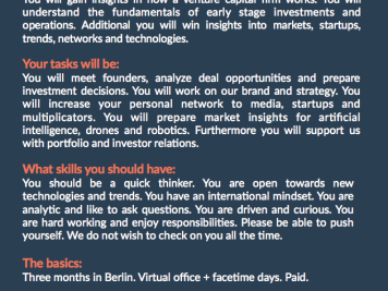 Praktikum Venture Capital Berlin