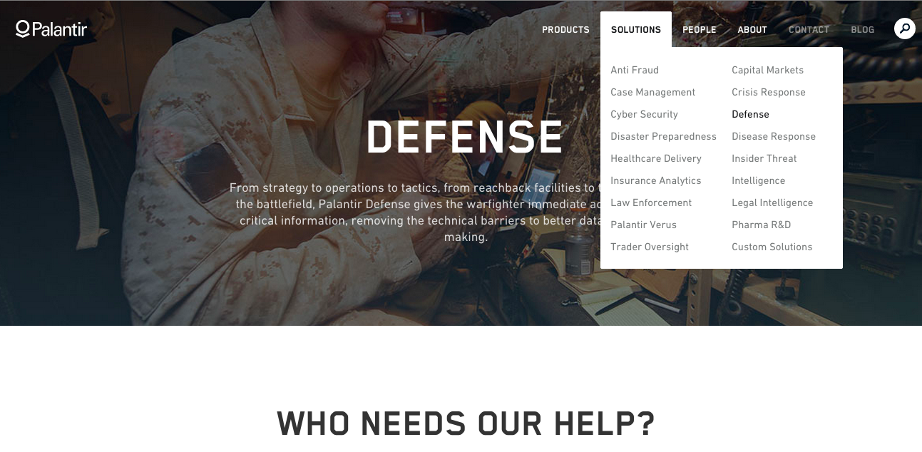 Screenshot Webseite Palentir